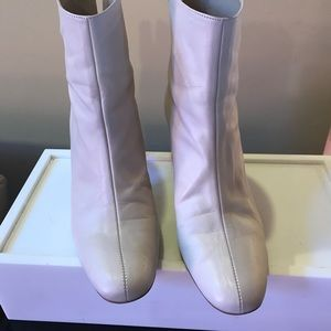 Zara White Leather Ankle Boots Sz 10 like New!!